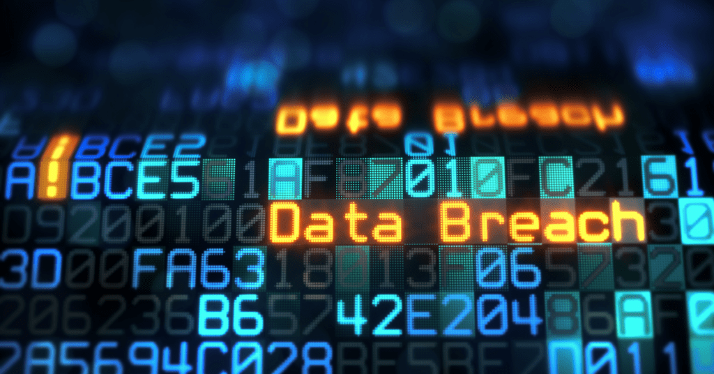 digital numbers and letters with the words Data breach highlighted