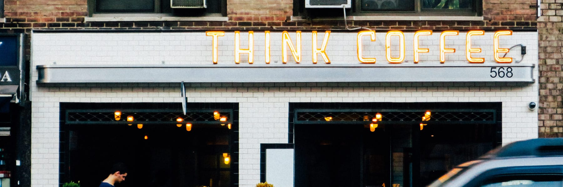 Think Coffee light up sign
