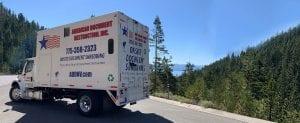 American Document Destruction shredding truck in tahoe