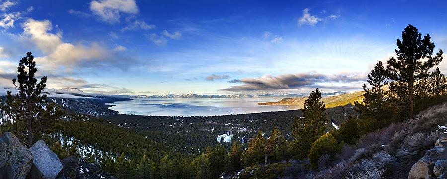 Lake Tahoe Panoramic shot over Incline Village Nevada