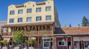 Old tavern in the main street of old west town Truckee, California